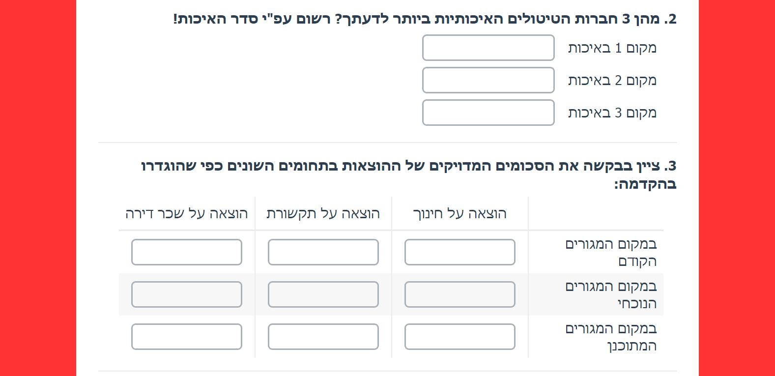ריבוי שאלות פתוחות (Textbox List/Grid). סוגי שאלות בבניית ויצירת שאלון סקר.