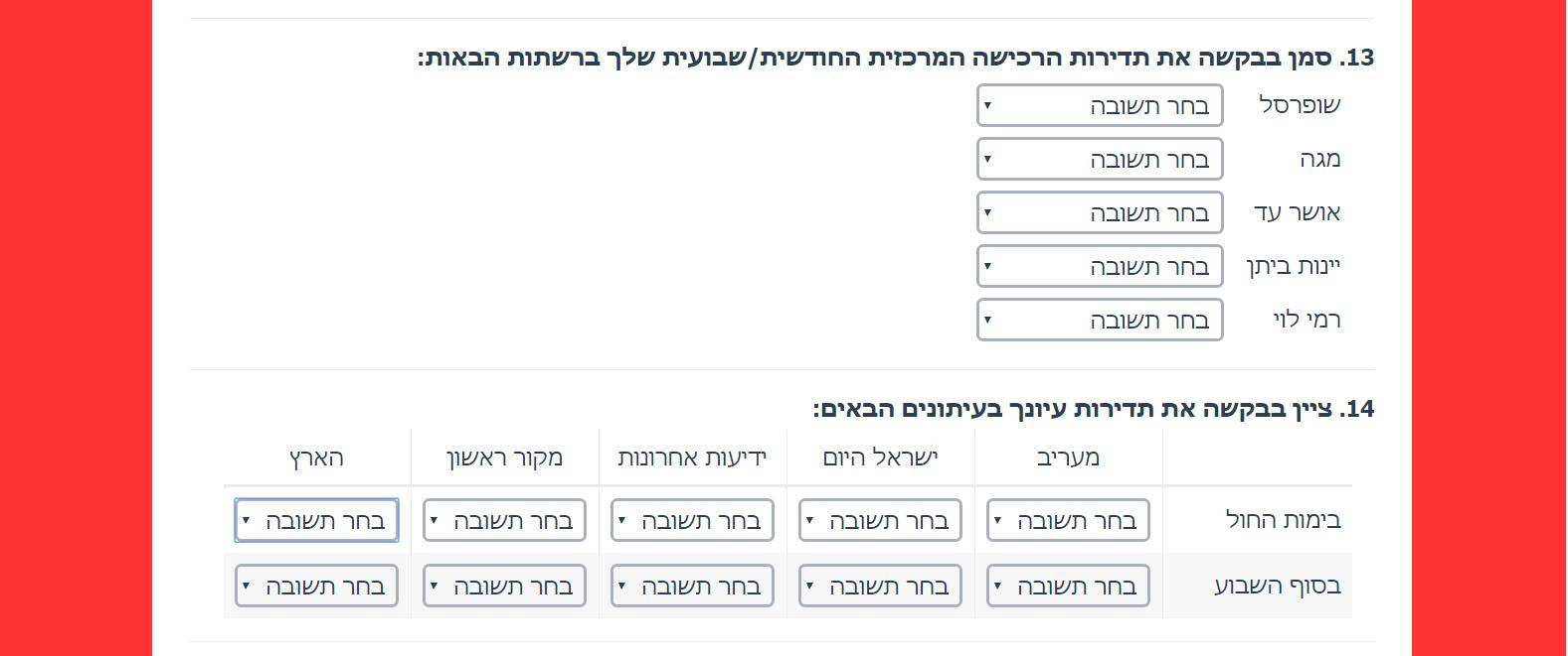 רשימת/טבלת תפריט נגלל (Dropdown Menu list/Grid). סוגי שאלות בבניית ויצירת שאלון סקר.